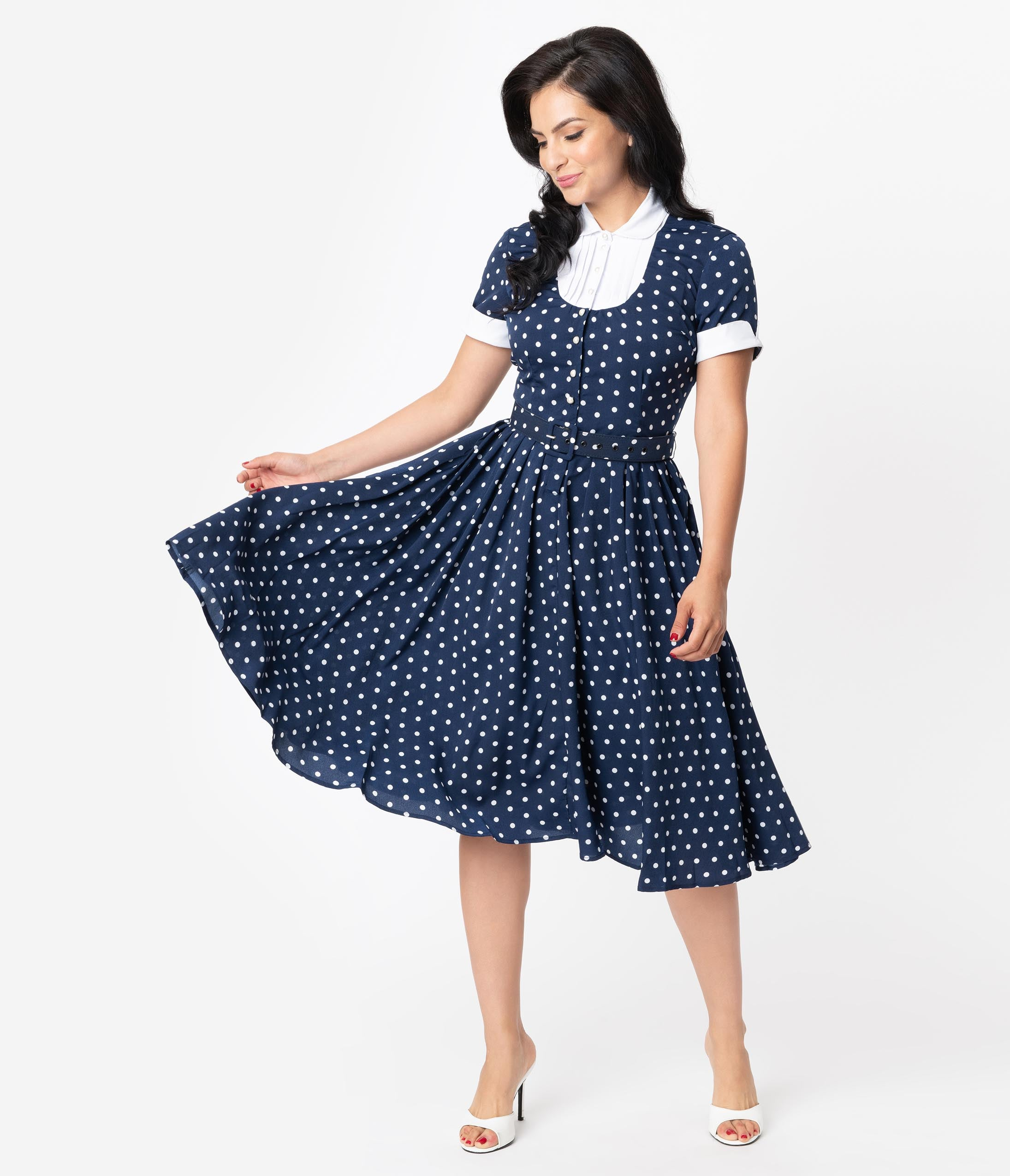 1950s Dresses, 50s Dresses | 1950s Style Dresses I Love Lucy X Unique Vintage Navy  White Polka Dot Ricardo Swing Dress $98.00 AT vintagedancer.com