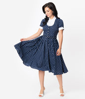 Crepe Fitted Pleated Darts Pocketed Short Sleeves Sleeves Swing-Skirt Polka Dots Print Dress