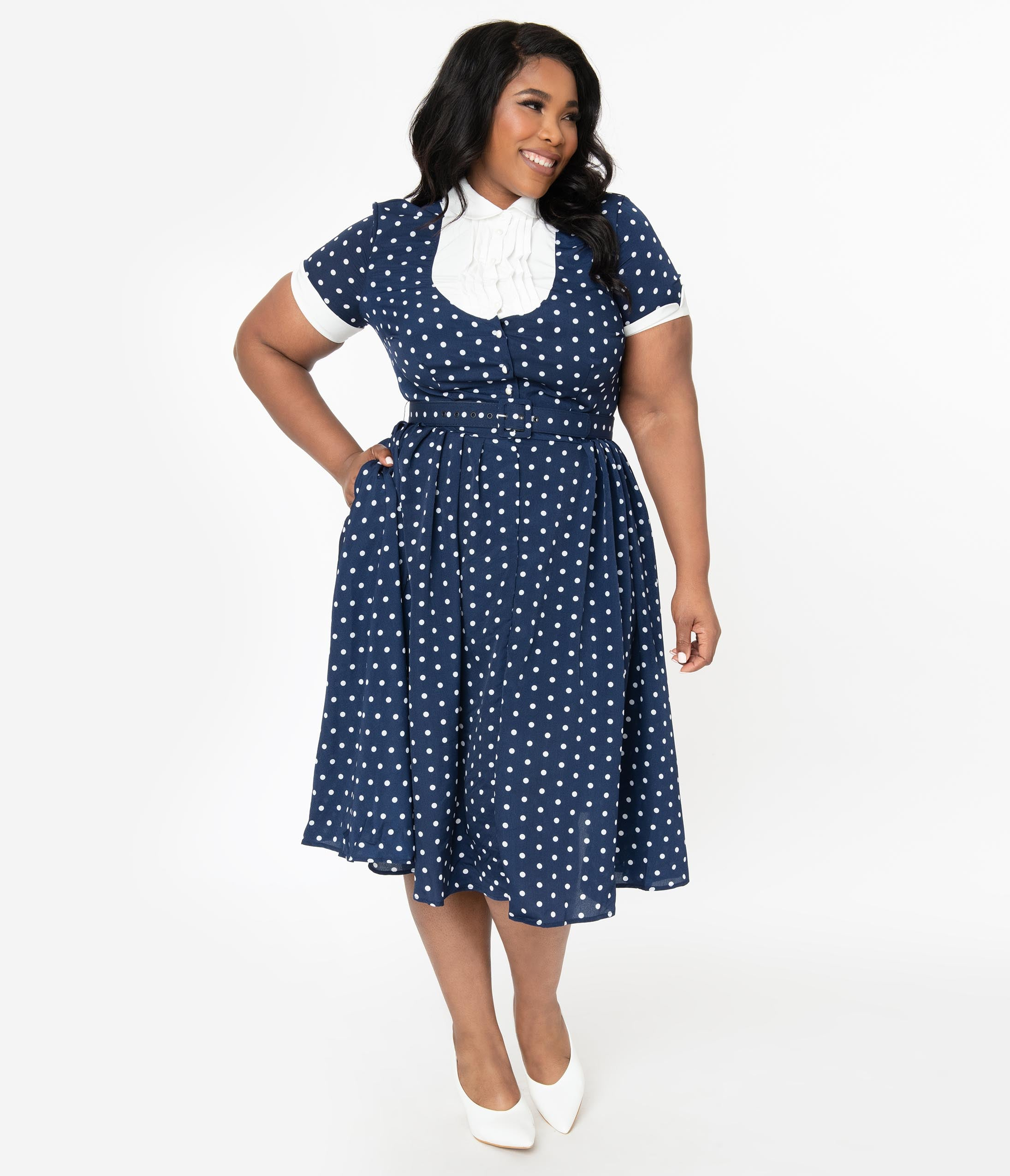 1950s Plus Size Dresses, Swing Dresses I Love Lucy X Unique Vintage Plus Size Navy  White Polka Dot Ricardo Swing Dress $98.00 AT vintagedancer.com