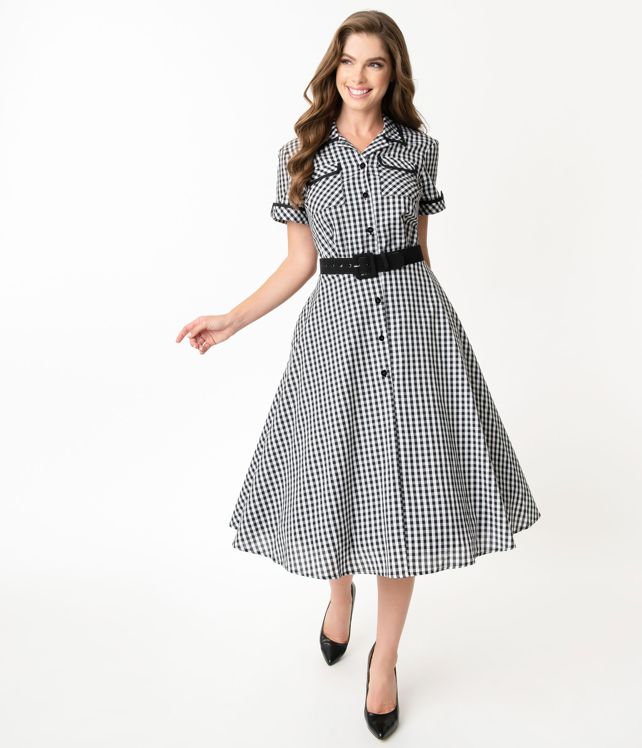 500 Vintage Style Dresses for Sale | Vintage Inspired Dresses I Love Lucy X Unique Vintage Black  White Gingham Ethel Swing Dress $98.00 AT vintagedancer.com