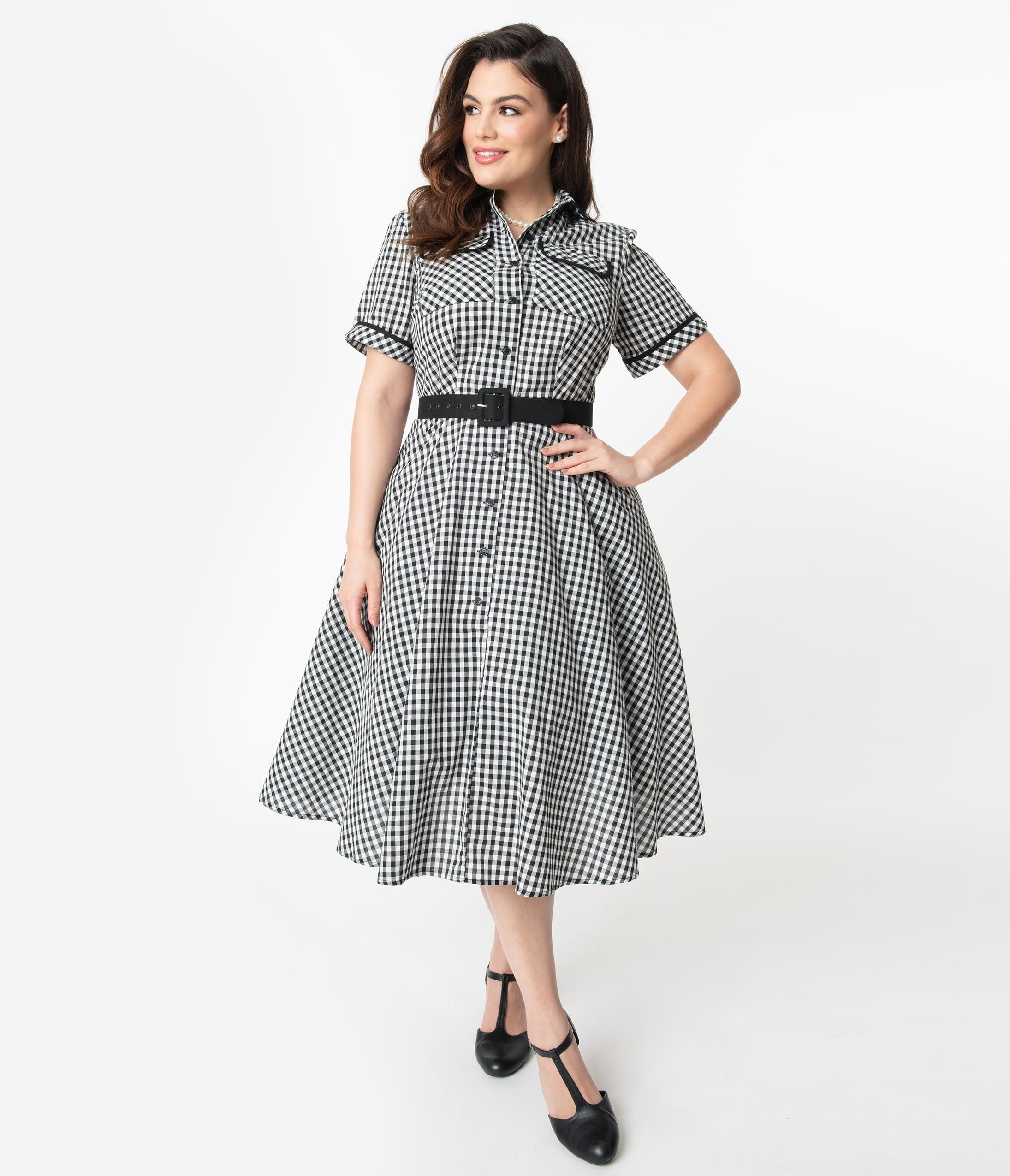1950s Plus Size Fashion & Clothing History I Love Lucy X Unique Vintage Plus Size Black  White Gingham Ethel Swing Dress $98.00 AT vintagedancer.com