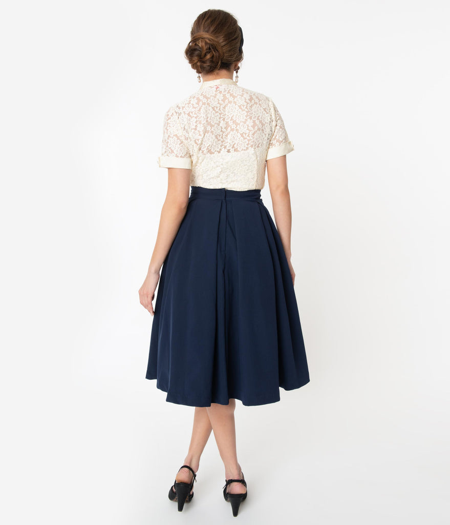I Love Lucy x Unique Vintage Navy Blue Fashion Show Swing Skirt