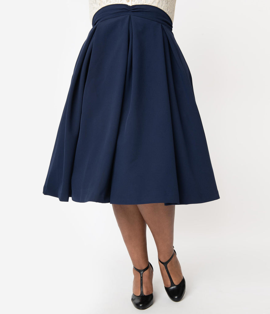 I Love Lucy x Unique Vintage Plus Size Navy Blue Fashion Show Swing Skirt