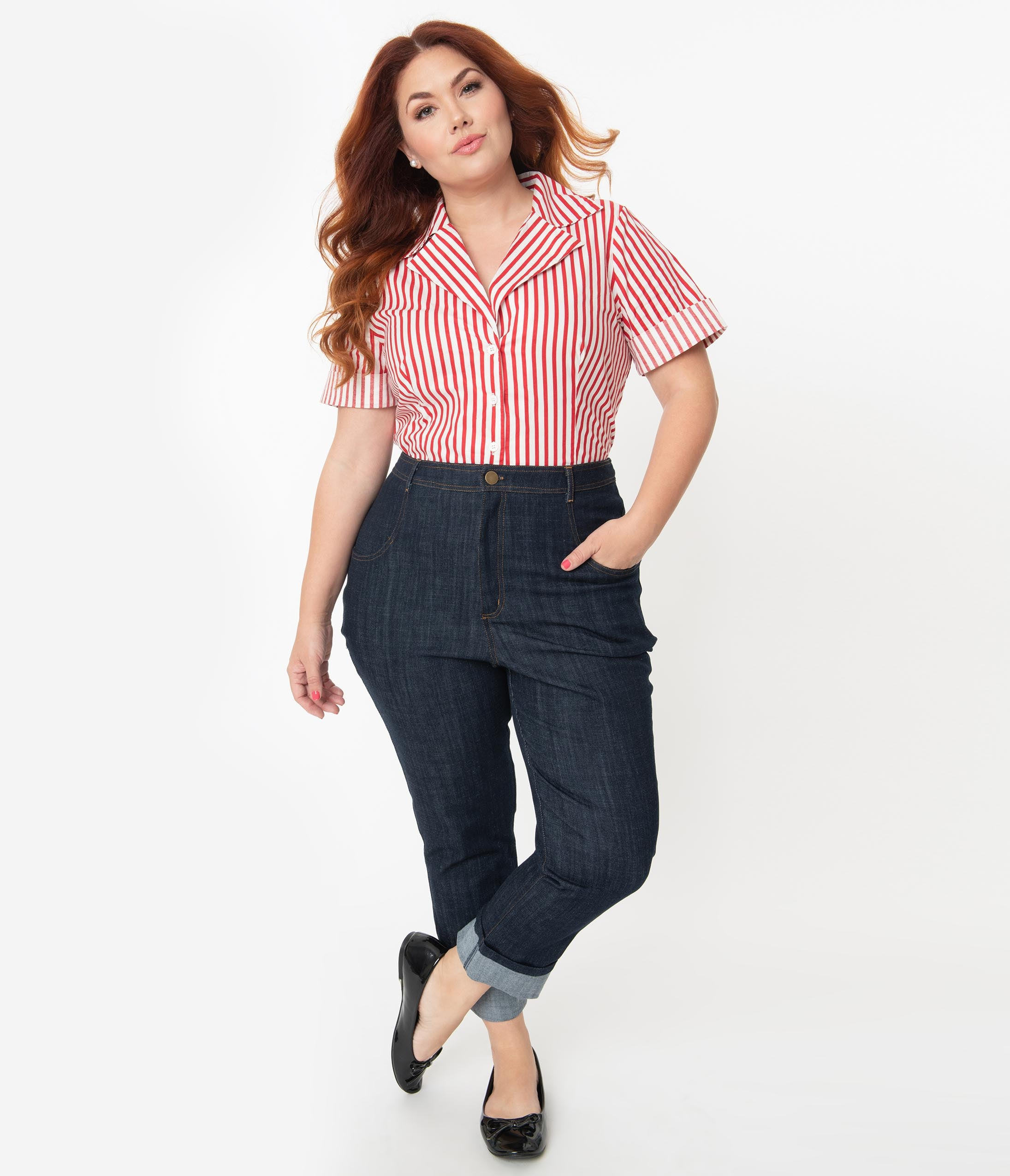 1950s Pants History for Women I Love Lucy X Unique Vintage Plus Size True Blue Little Ricky Jeans $88.00 AT vintagedancer.com
