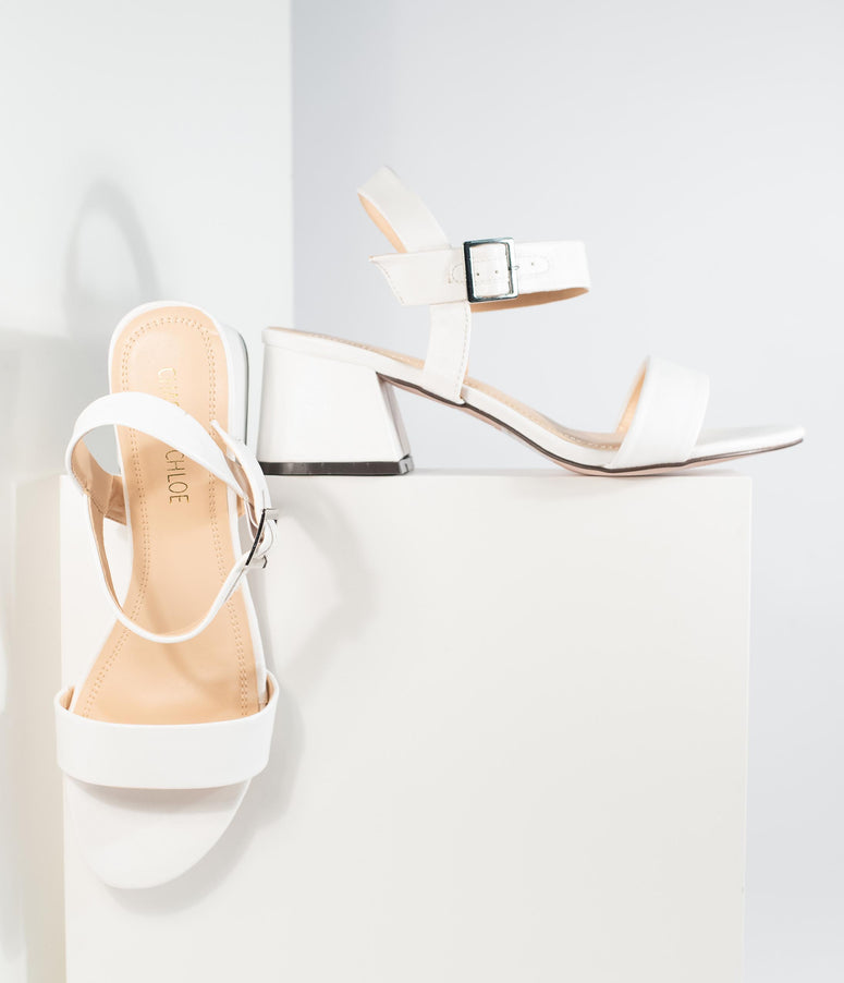 White Leatherette Teagan Heeled Sandal