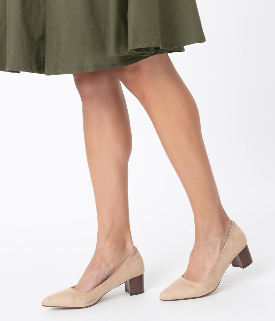Beige Suede Pointed Toe Stacked Heels
