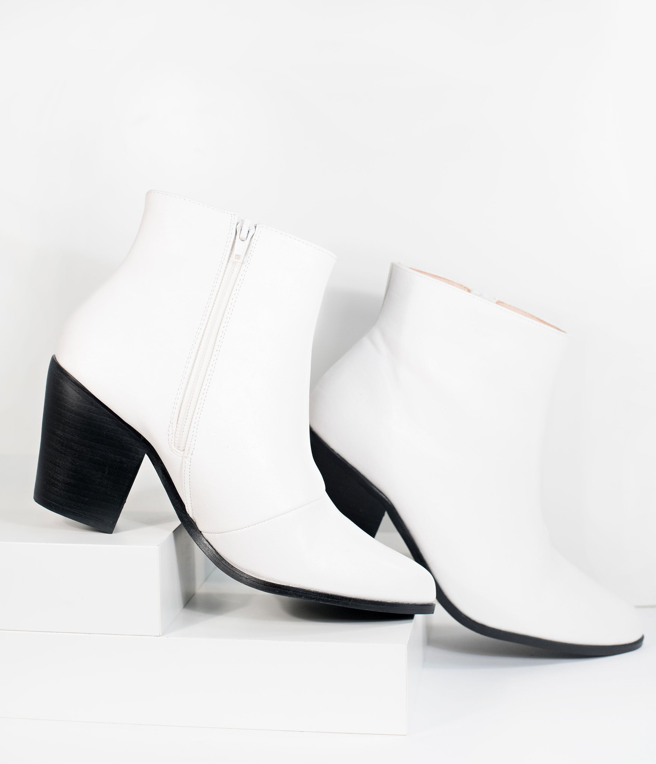 60s Shoes, Boots | 70s Shoes, Platforms, Boots Retro Style White Leatherette Blake Heel Bootie $44.00 AT vintagedancer.com