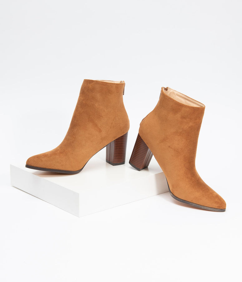 Tan Suede Stacked Heel Bootie