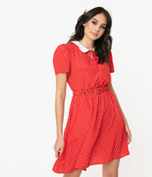Crepe Short Sleeves Sleeves Elasticized Waistline Dots Print Collared Belted Pocketed Fitted Keyhole Dress