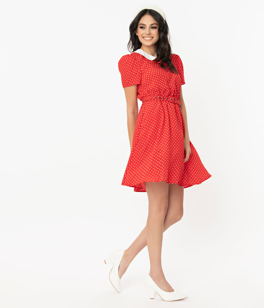 Unique Vintage Red & White Pin Dot Isla Flare Dress
