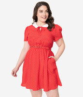 Plus Size Crepe Pocketed Fitted Keyhole Belted Dots Print Collared Elasticized Waistline Short Sleeves Sleeves Dress