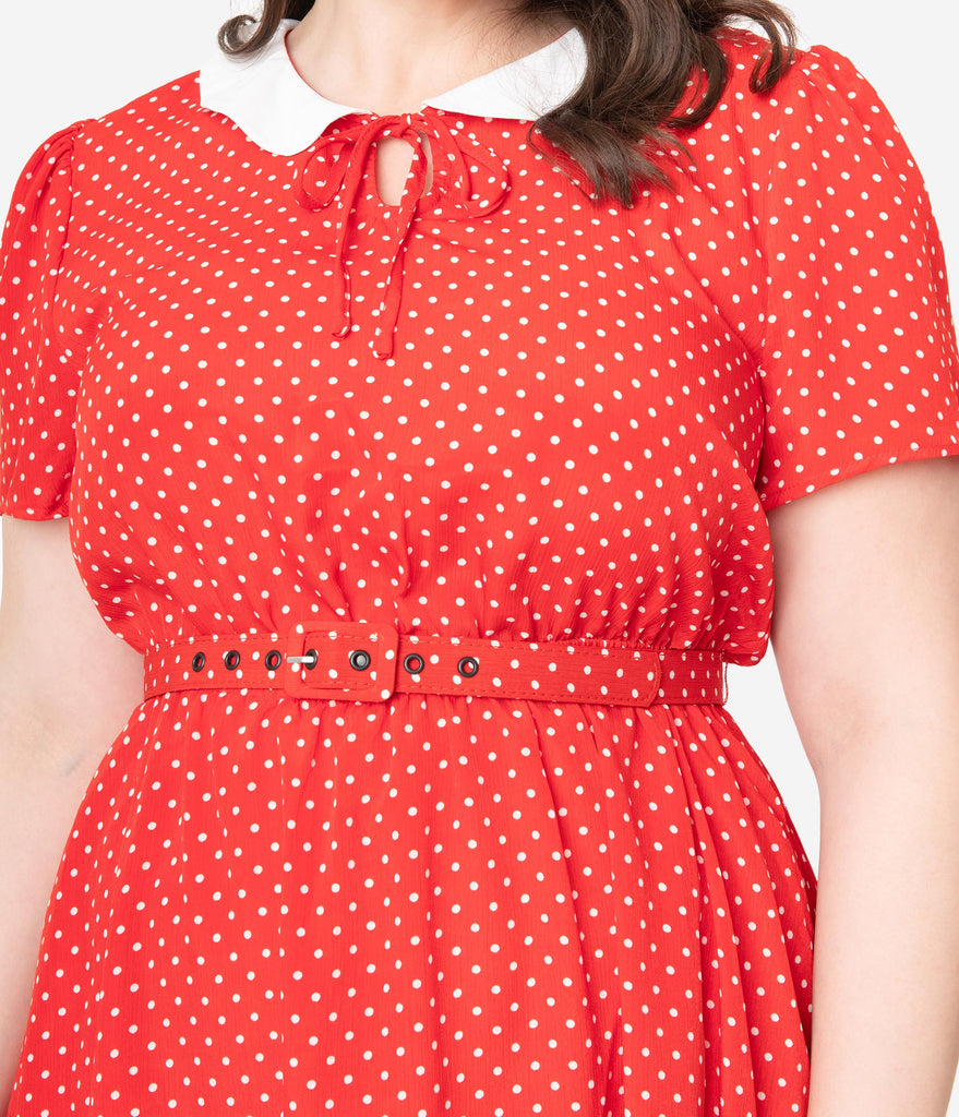 Unique Vintage Plus Size Red & White Pin Dot Isla Flare Dress