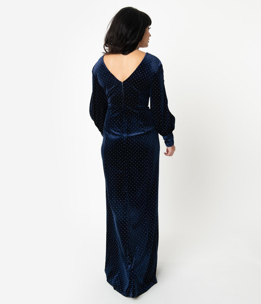 Unique Vintage Navy Blue Velvet & Silver Dotted Sharon Maxi Dress