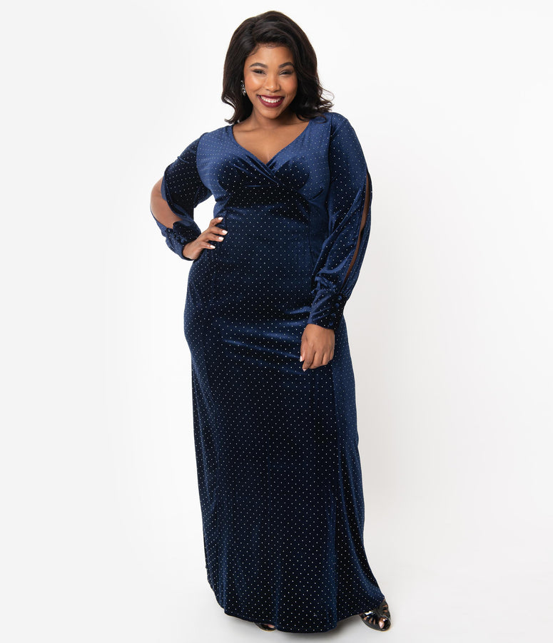 Unique Vintage Plus Size Navy Blue Velvet & Silver Dotted Sharon Maxi Dress