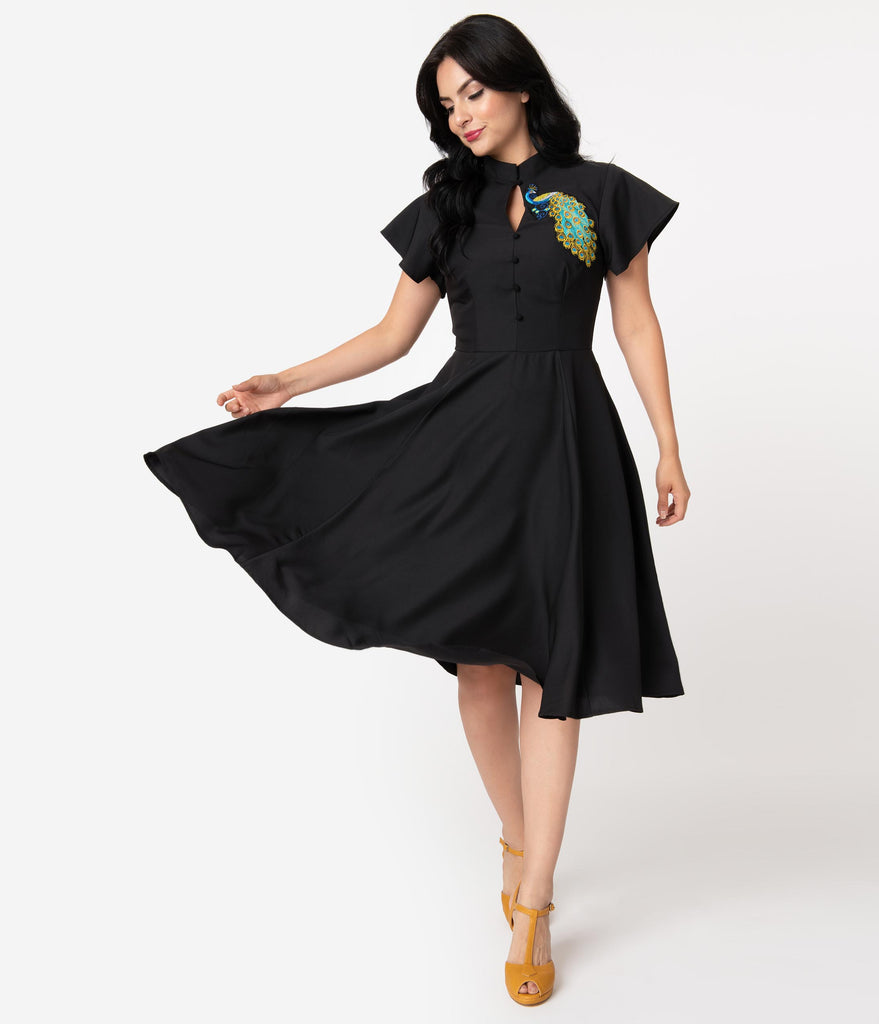 Unique Vintage Black & Embroidered Peacock Baltimore Swing Dress