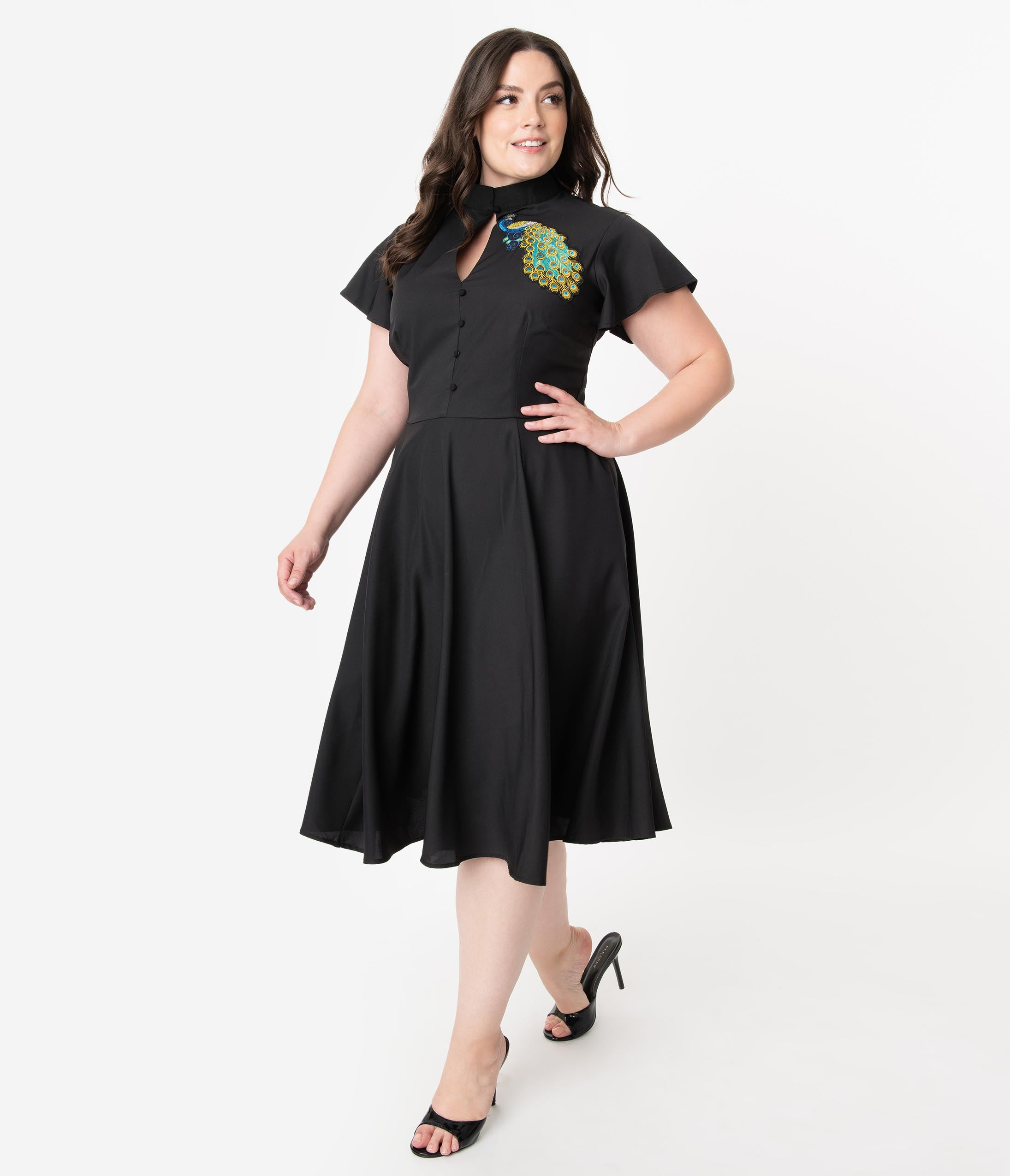1940s Dresses | 40s Dress, Swing Dress Unique Vintage Plus Size Black  Embroidered Peacock Baltimore Swing Dress $98.00 AT vintagedancer.com