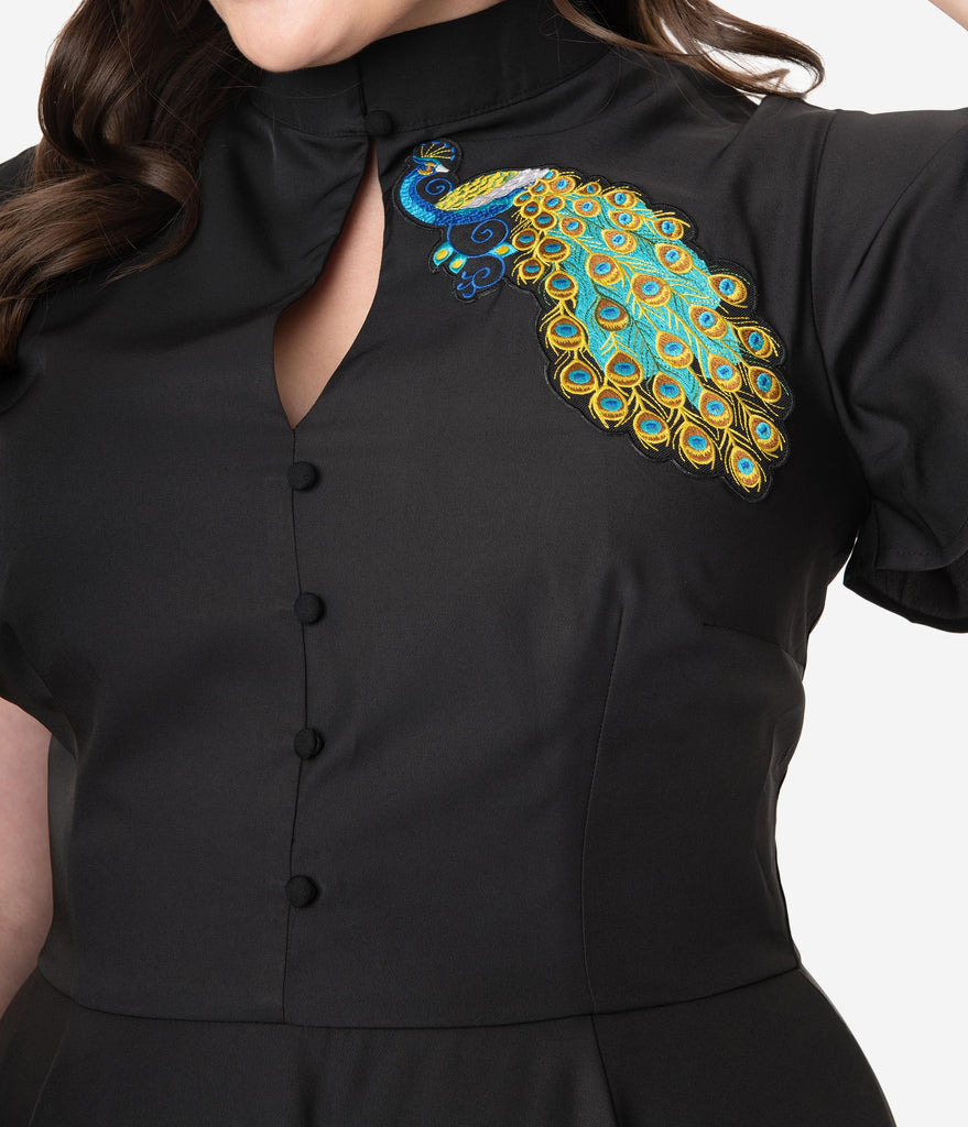 Unique Vintage Plus Size Black & Embroidered Peacock Baltimore Swing Dress