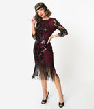 Unique Vintage 1920s Burgundy & Black Sequin Cocktail Celeste Flapper Dress