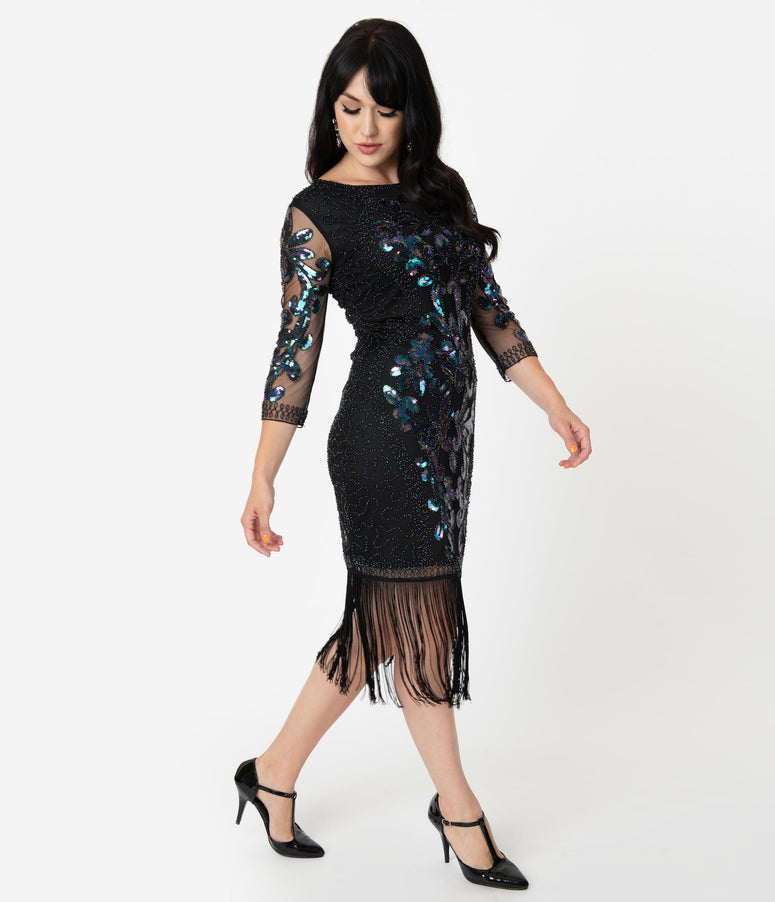Unique Vintage 1920s Black Iridescent Sequin Cocktail Celeste Flapper Dress