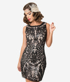Unique Vintage Black Sequin & Blush Sleeveless Cocktail Flapper Dress