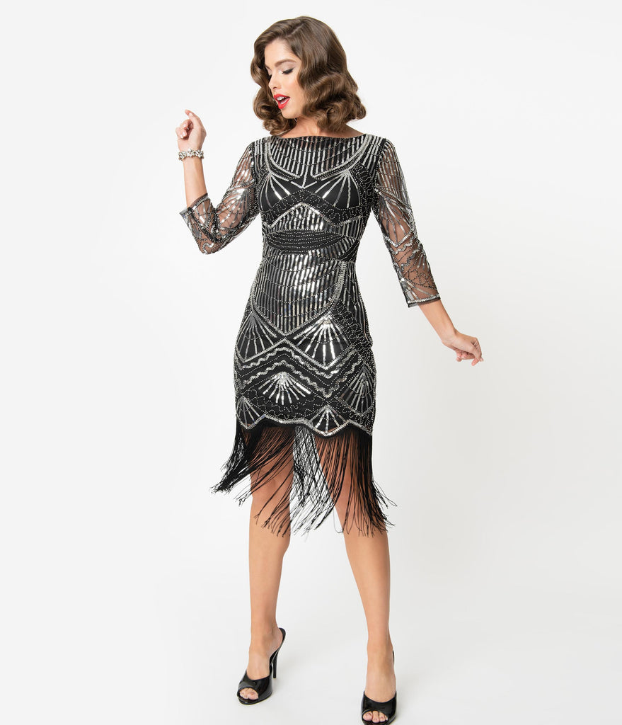 Unique Vintage Black & Silver Sequin Sleeved Therese Flapper Dress