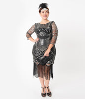 Plus Size Modest General Print Beaded Mesh Sequined Vintage 3/4 Sleeves High-Neck Swing-Skirt Dress