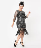 Unique Vintage Plus Size Black & Silver Sequin Sleeved Therese Flapper Dress