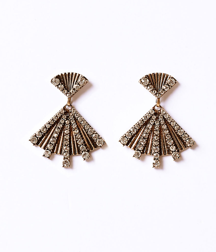 Antique Gold & Glass Crystal Pave Fan Drop Post Earrings