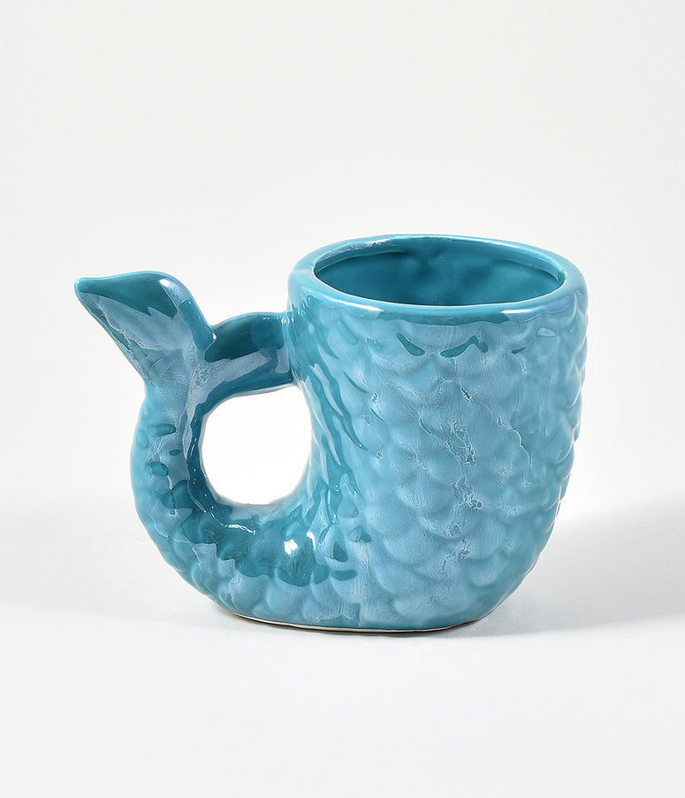 Aqua Blue Ceramic Mermaid Tail Mug