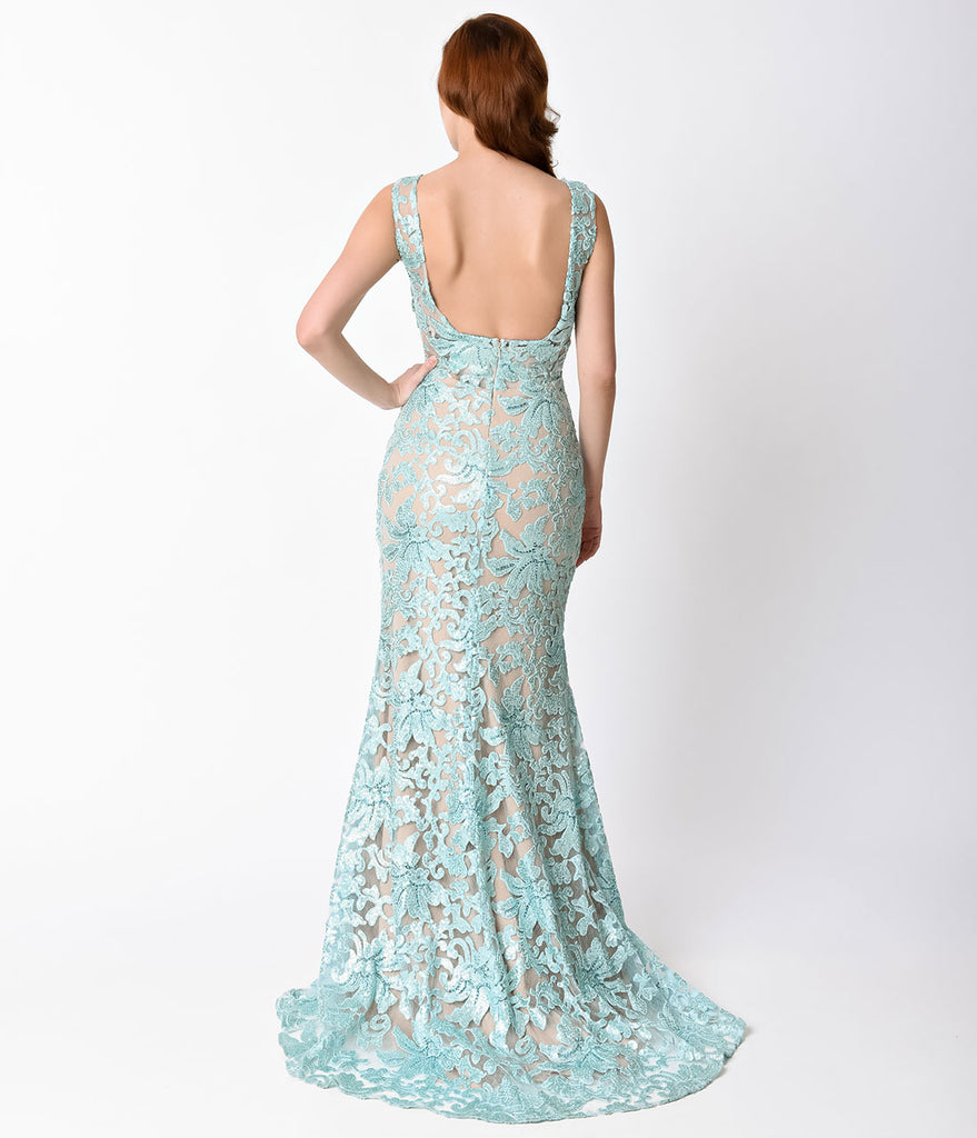 Aqua & Nude Fitted Sequined Long Dress