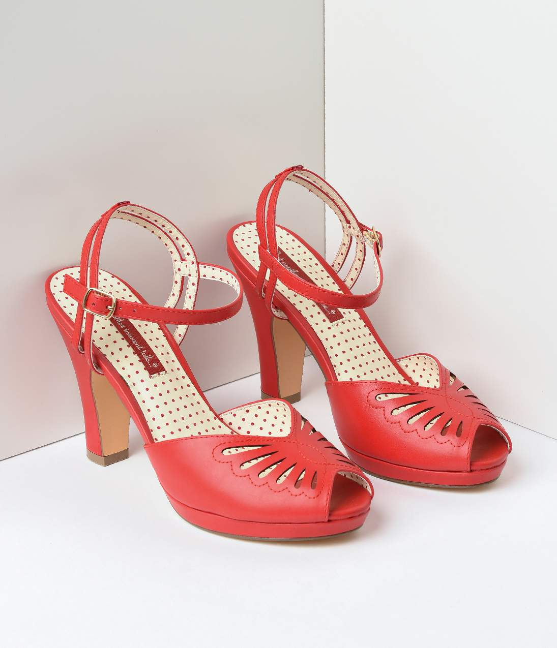 1940s Style Shoes, 40s Shoes B.a.i.t. 1940S Red Butterfly Cut Out Loraine Platform Sandals $78.00 AT vintagedancer.com