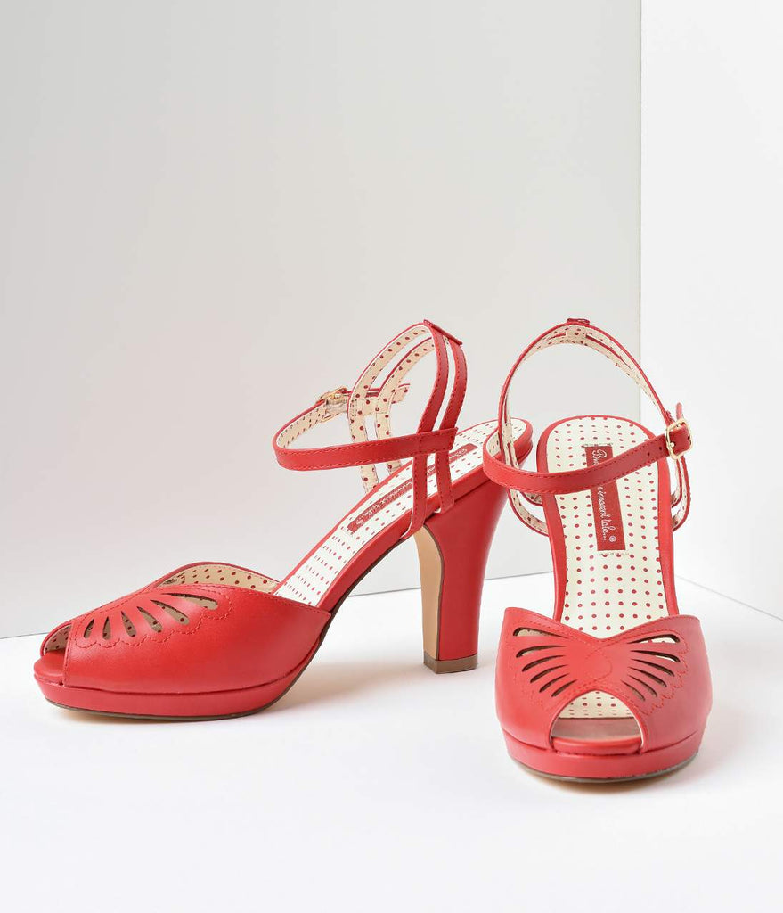 B.A.I.T. 1940s Red Butterfly Cut Out Loraine Platform Sandals