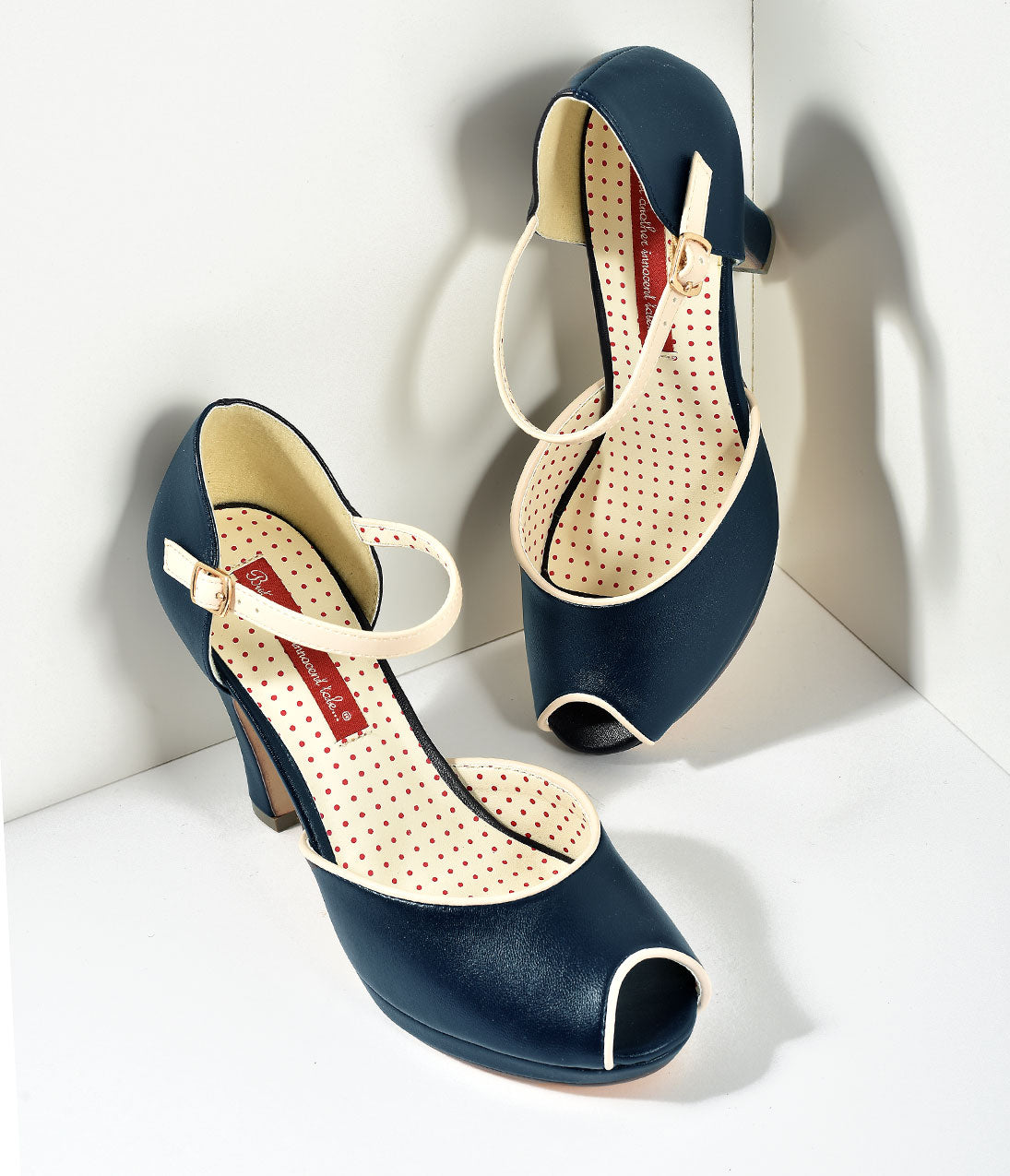 1950s Style Shoes B.A.I.T. Midnight Navy Blue Leatherette Peep Toe Laurel Heels Shoes $72.00 AT vintagedancer.com