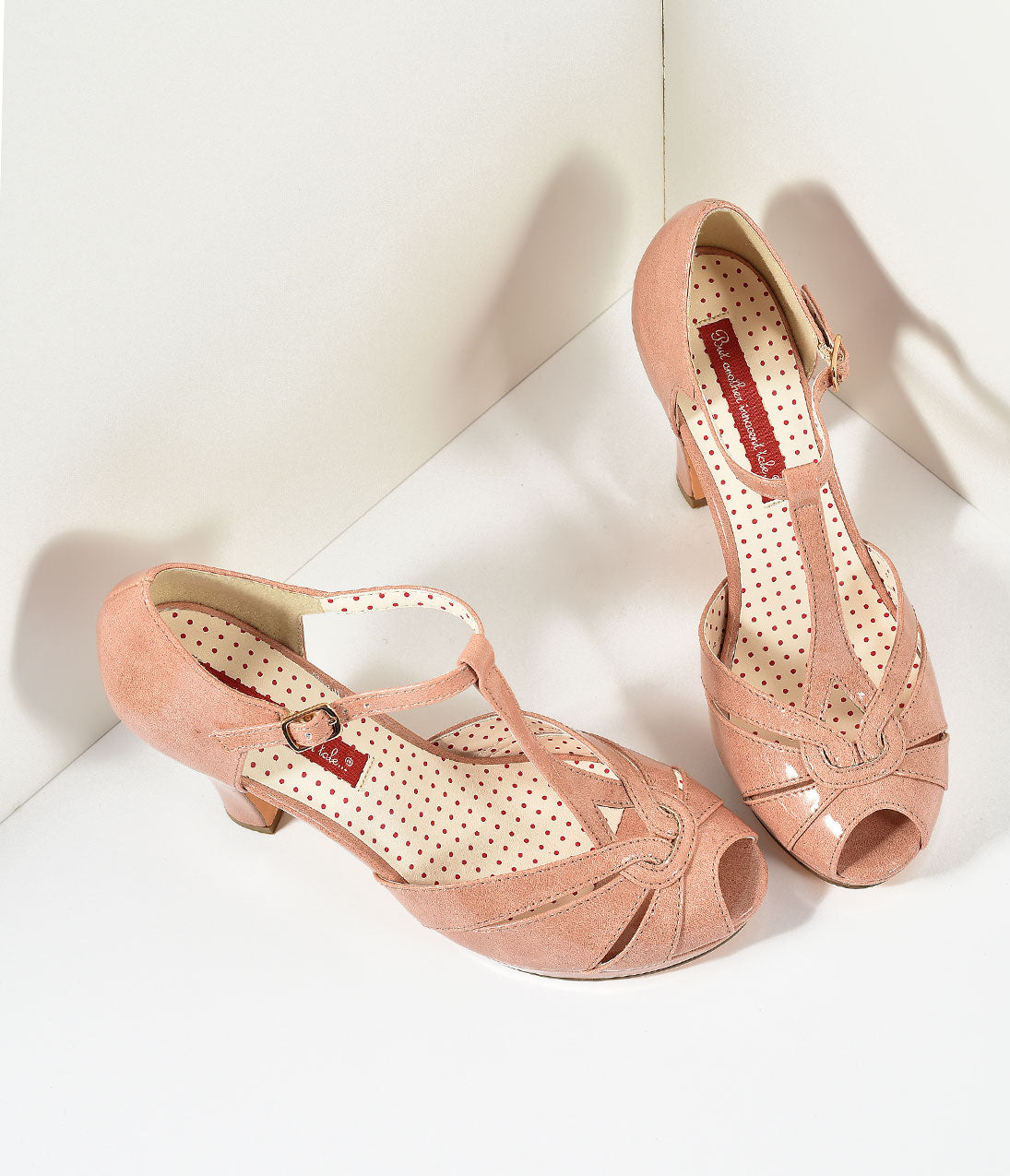 1950s Style Shoes B.A.I.T. Peach Patent Leatherette Peep Toe T-Strap Lacey Heels Shoes $75.00 AT vintagedancer.com
