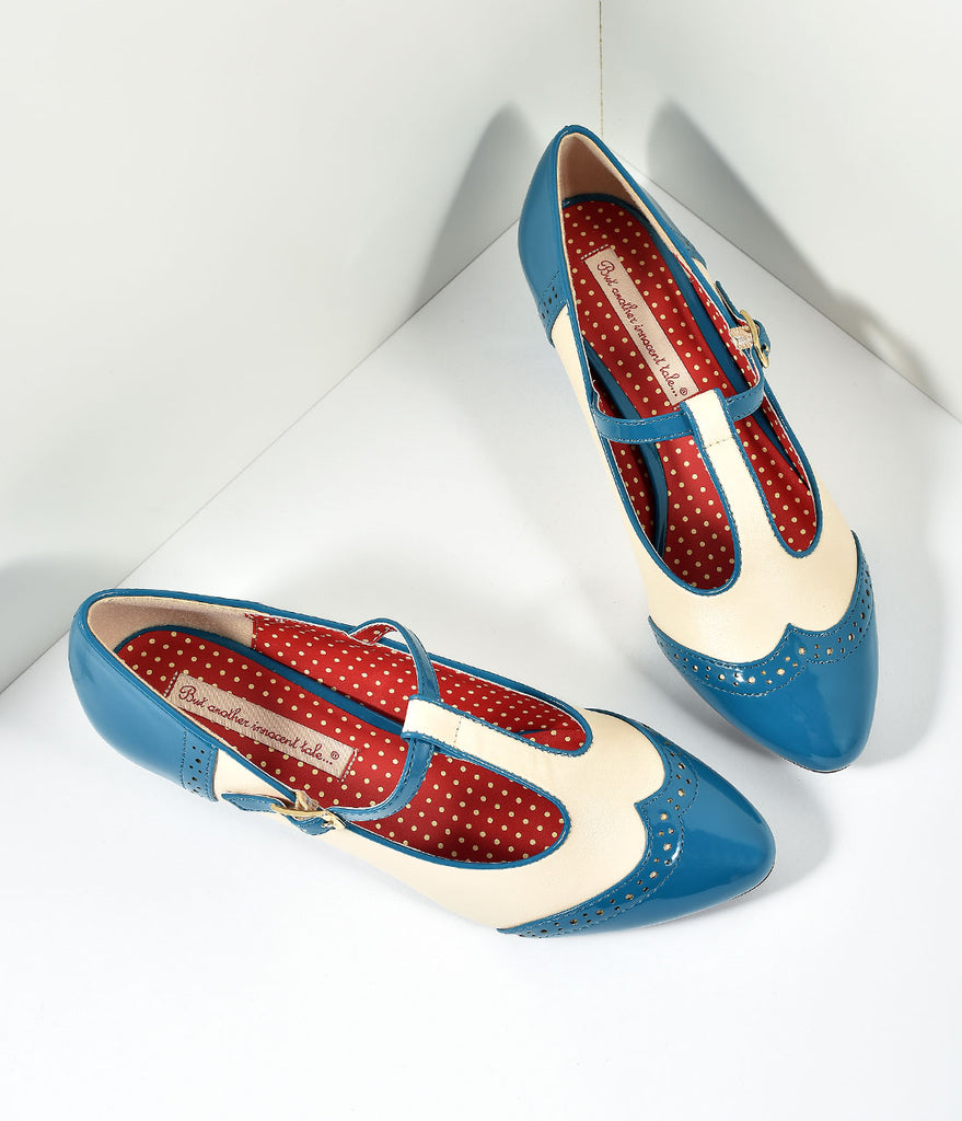 B.A.I.T. Royal Teal Blue Ione Wingtip Spectator T-Strap Pumps