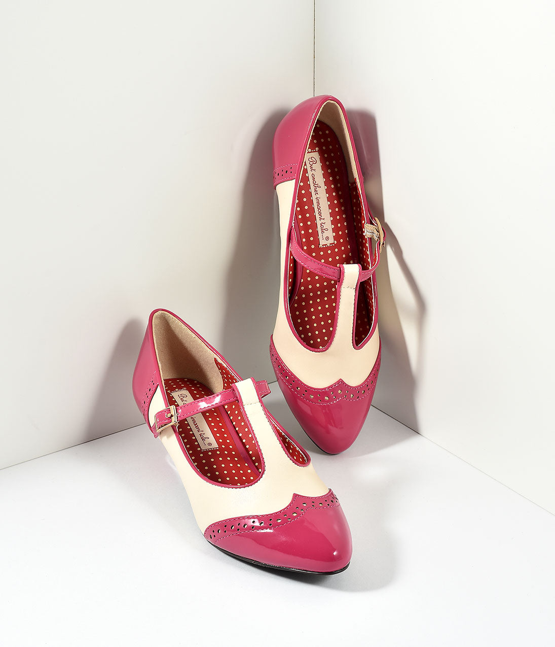 1950s Style Shoes | Heels, Flats, Saddle Shoes B.A.I.T. Vintage Rose Pink Ione Wingtip Spectator T-Strap Pumps Shoes $67.00 AT vintagedancer.com