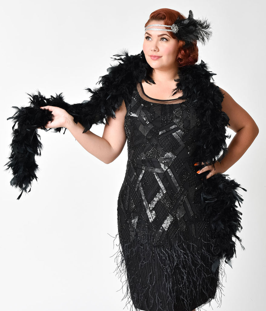 1920s Inspired Black Feather Boa