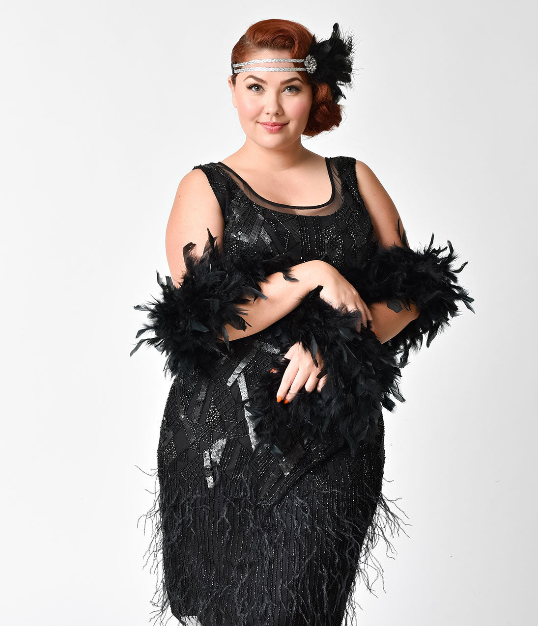 Roaring 20s Costumes- Flapper Costumes, Gangster Costumes 1920S Inspired Black Feather Boa $14.00 AT vintagedancer.com