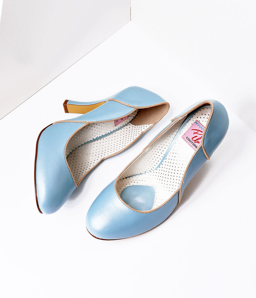 Baby Blue Leatherette Heel With Gold Accents
