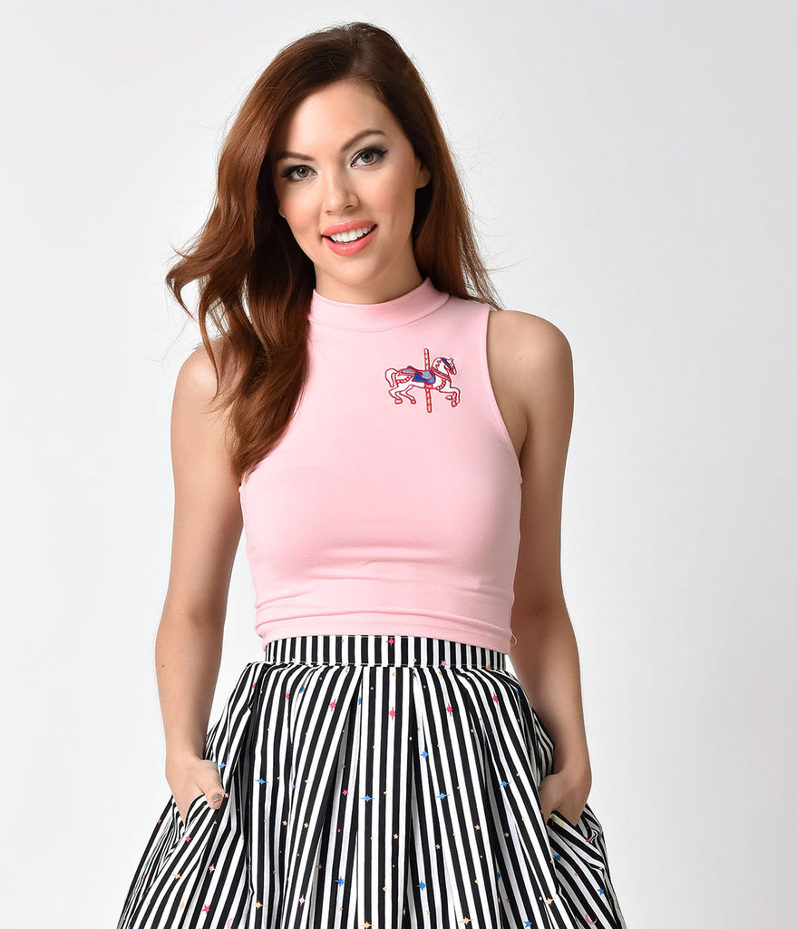 Whosits and Whatsits Baby Pink Sleeveless High Neck Jingles Carousel Crop Top