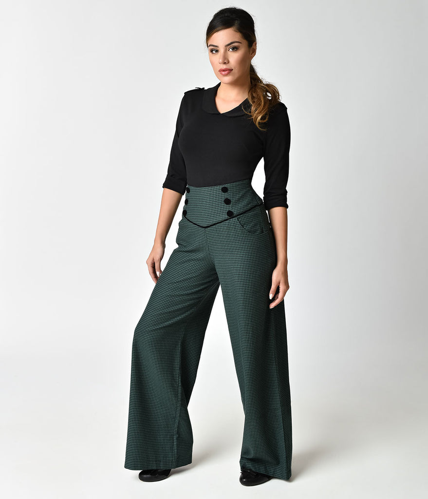 Banned 1940s Style Green Houndstooth Audrey High Waist Pants