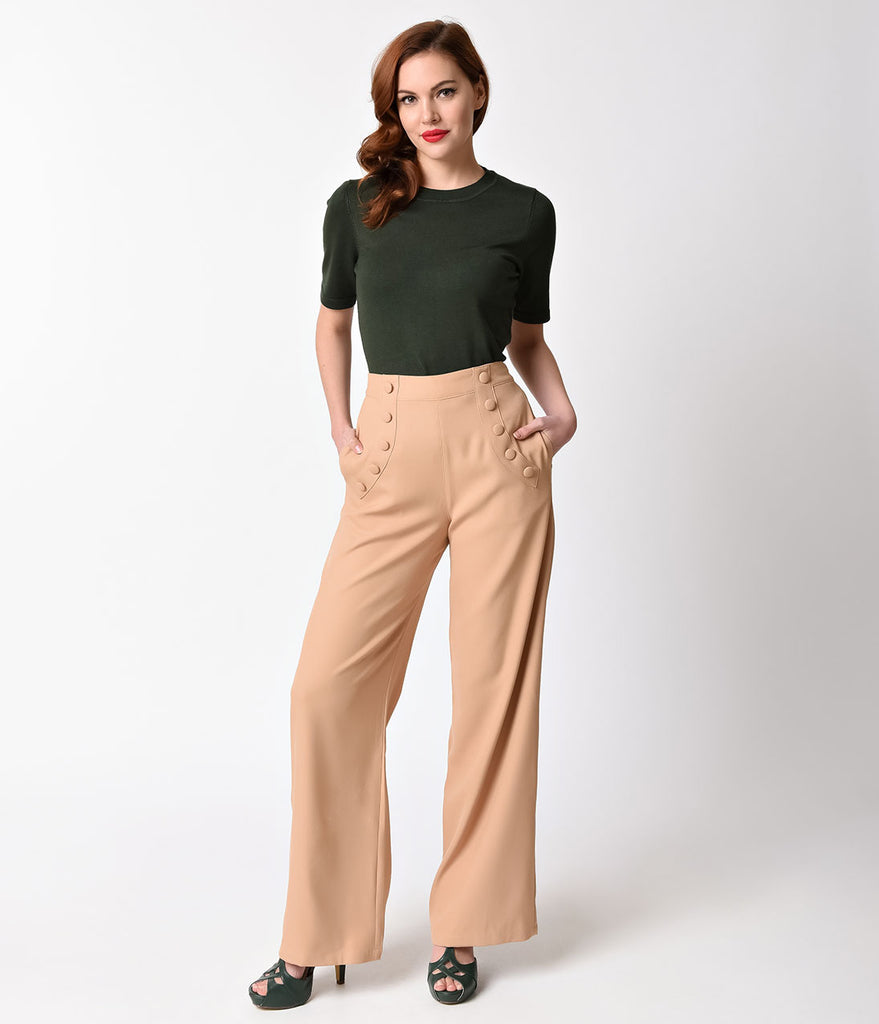 Banned 1940s Style Light Brown High Waist Crepe Full Moon Pants