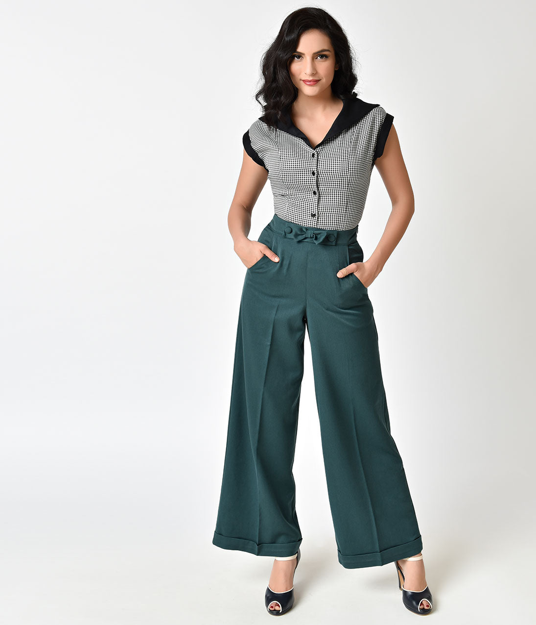 Vintage High Waisted Trousers, Sailor Pants, Jeans Banned 1940s Style Teal Green High Waist Anika Pants $58.00 AT vintagedancer.com