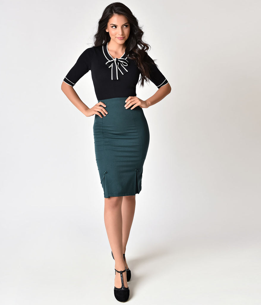 Banned 1950s Style Teal High Waist Paula Pencil Skirt