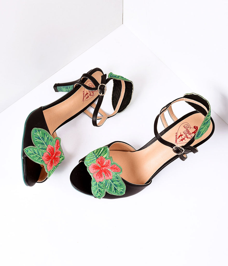 Banned Black & April Love Tropical Floral Leatherette Peep Toe Heels