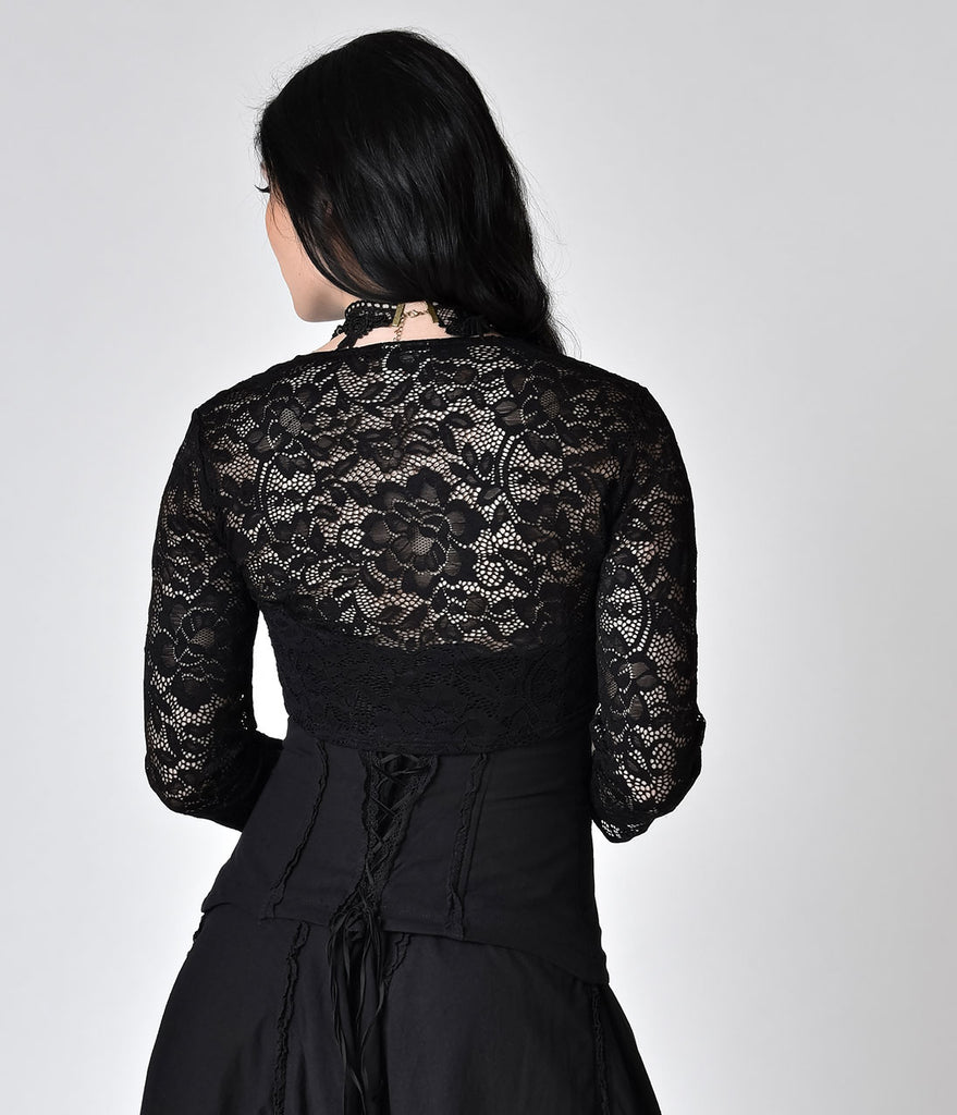 Banned Black Lace Feeling Rosy Sleeved Bolero