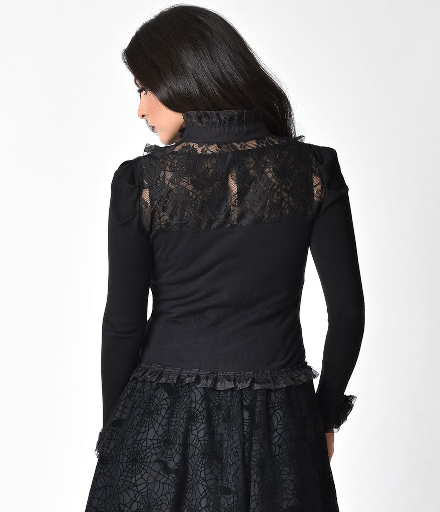 Banned Black Lace Long Sleeve Rose Button Up Cardigan