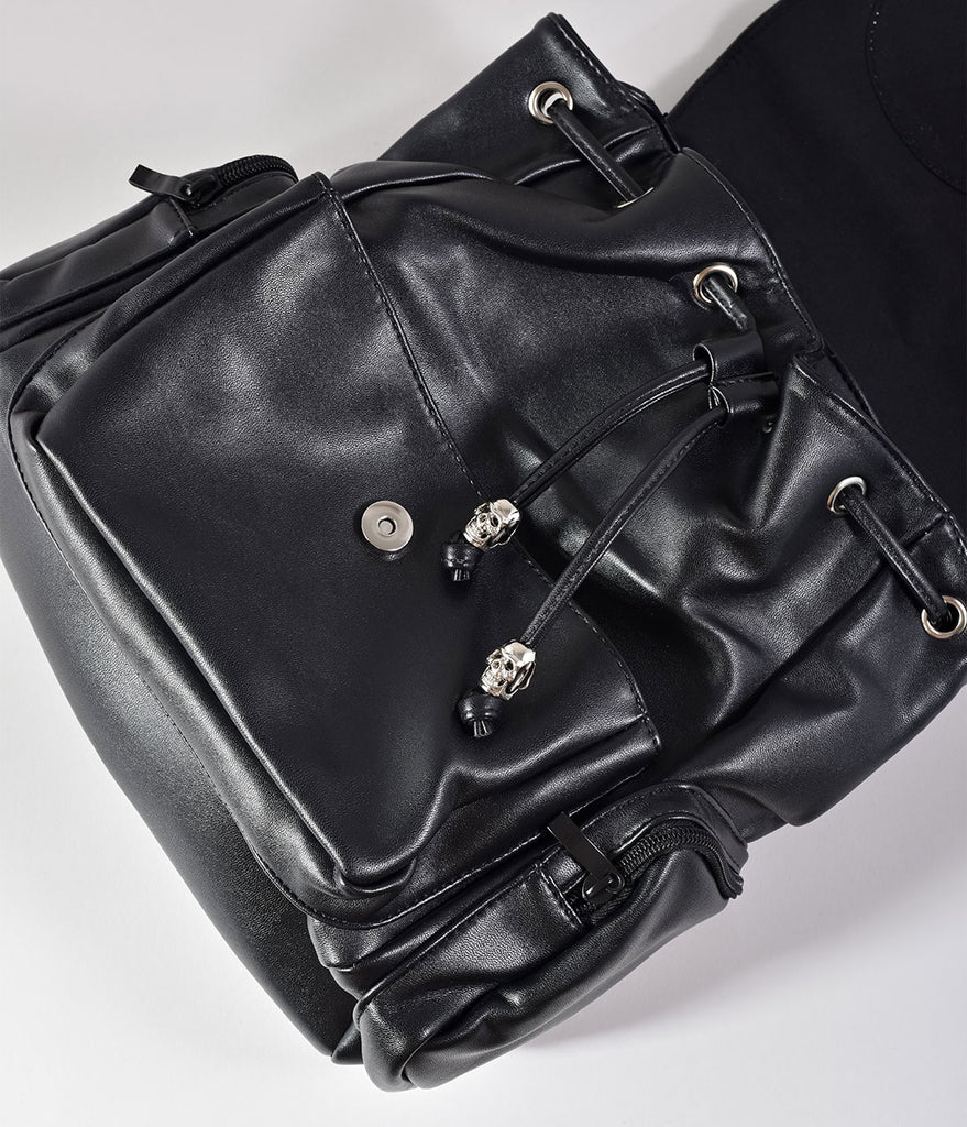 Banned Black Leatherette Spiderweb Heart Rockwell Backpack