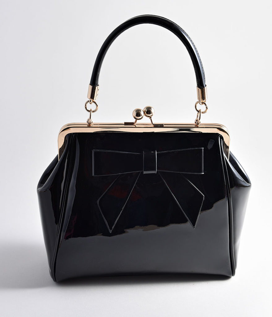 Banned Black Patent Leatherette Top Frame Handbag