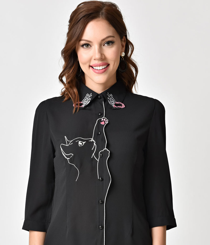 Banned Black & White Embroidered Snow Bird Cat Chiffon Blouse